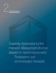 Corporate Governance further improved. Management structure ...