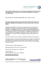 Envisaged ordinary capital increase - Schmolz + Bickenbach AG