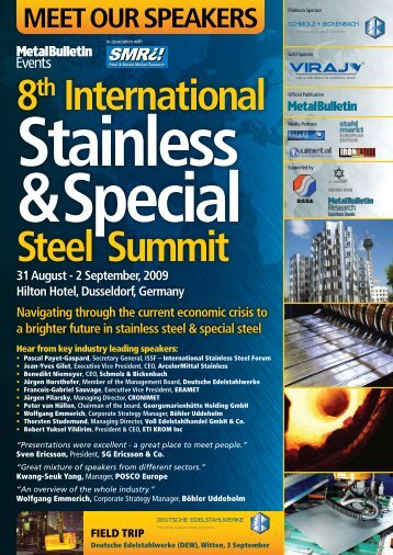 8th International Steel Summit - SCHMOLZ-BICKENBACH.DE