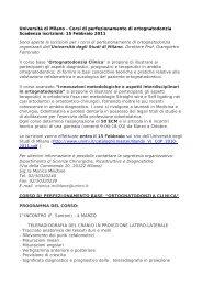 Università di Milano - Corsi di perfezionamento di ortognatodonzia ...