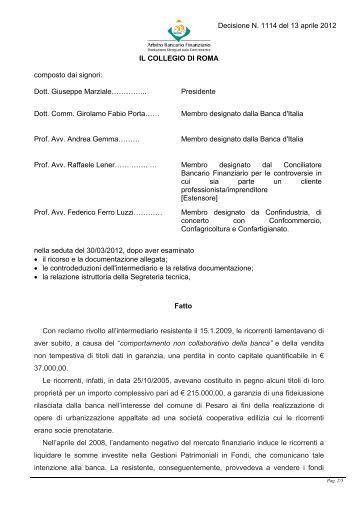 Decisione N. 1114 del 13 aprile 2012 - Arbitro Bancario Finanziario