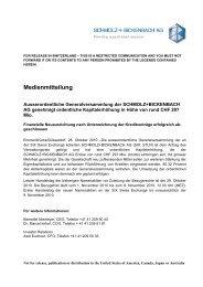Medienmitteilung - Schmolz + Bickenbach AG