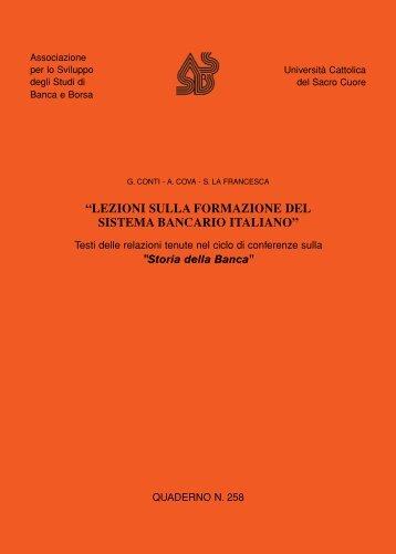 lezioni sulla formazione del sistema bancario italiano - Consiglio ...
