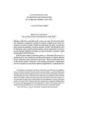 """Gli scritti di Giovanni Maver in """"I libri del giorno"""" - Europa Orientalis"""