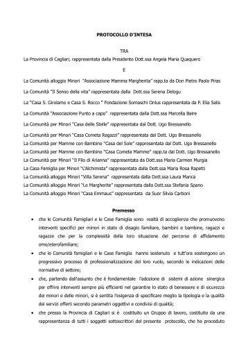 Protocollo Comunità - Sociale - Provincia di Cagliari