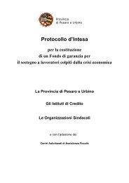 PROTOCOLLO MICROCREDITO - Provincia di Pesaro e Urbino