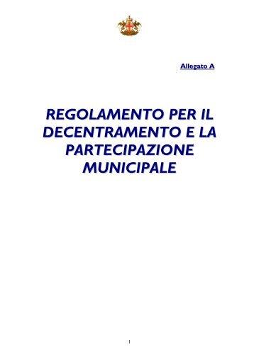 Regolamento per il decentramento e la partecipazione municipale