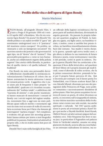 Profilo della vita e dell'opera di Egon Bondy - eSamizdat