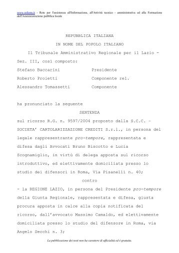 TAR Lazio, Roma, sez. III, Sentenza 10 novembre - tiziano tessaro