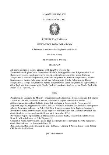 La sentenza del TAR Lazio n. 6352 dell'1 luglio 2009 - Ministero dell ...