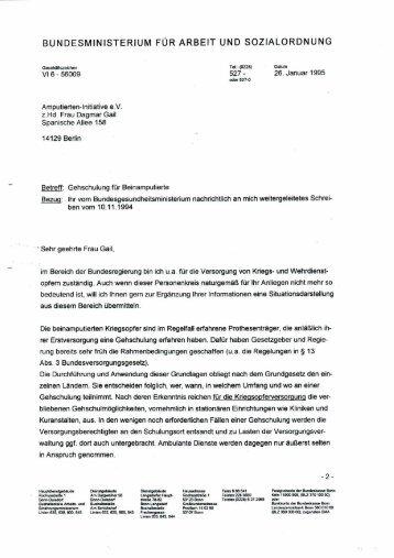 Brief vom Ministerialrat Dr. M. Franzen - Amputierten - Initiative ev ...