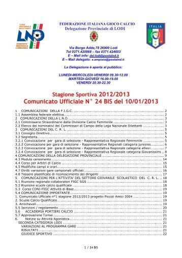Comunicato Ufficiale nr. 24 bis - Realcasal.It