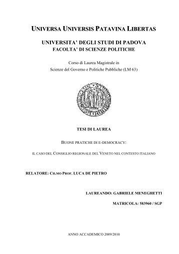 Tesi Gabriele Meneghetti - Terzo Veneto