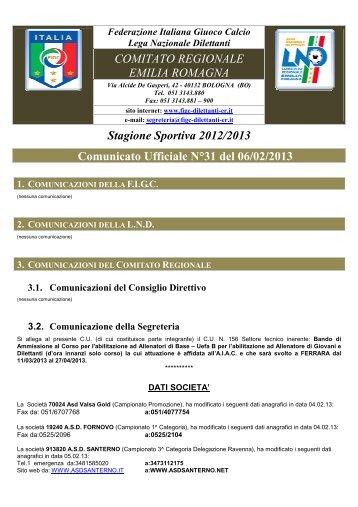 Stagione Sportiva 2012/2013 Comunicato Ufficiale N°31 del 06/02 ...