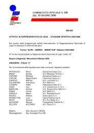 di rappresentativa - stagione 2005/2006 - Lega Pro