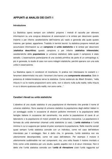 APPUNTI di ANALISI DEI DATI 1 - Lettere e Filosofia