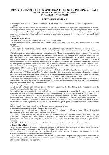 FIFA - Regolamento gare internazionali 2011 - Diritto Calcistico