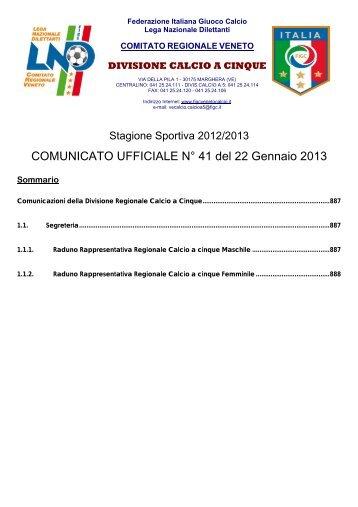 COMUNICATO UFFICIALE N° 41 del 22 Gennaio 2013 - FIGC Veneto