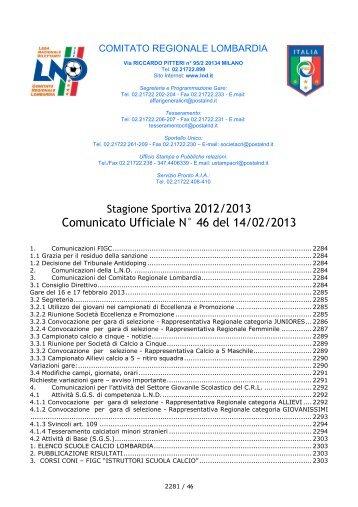 Comunicato Ufficiale N° 46 del 14/02/2013 - Lariosport