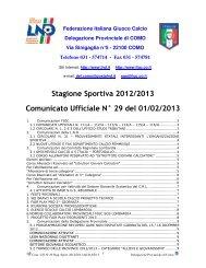 comunicato provinciale Como n. 29 del 1 febbraio 2013