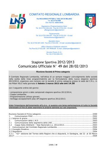 Comunicato Ufficiale N° 49 del 28/02/2013 - Il portale dello sport ...