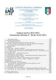 Comunicato Ufficiale N° 38 del 10/01/2013 - Il portale dello sport ...