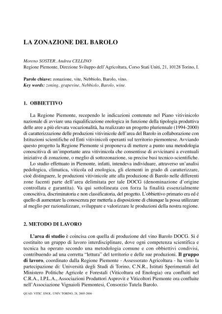 LA ZONAZIONE DEL BAROLO - Università degli Studi di Torino