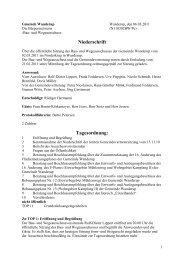 Niederschrift Tagesordnung: - Wanderup
