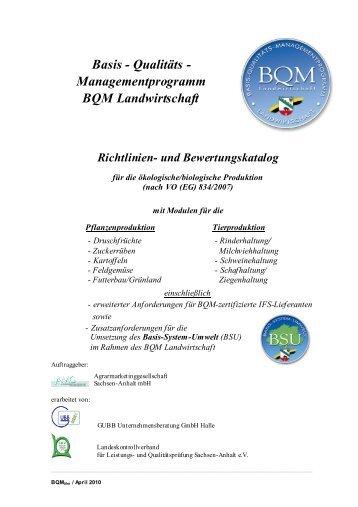 Qualitäts - Managementprogramm BQM Landwirtschaft Richtlinien