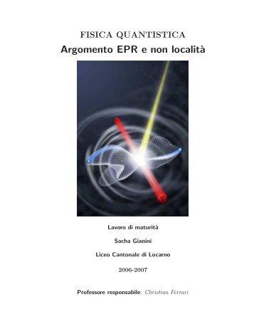 Argomento EPR e non localit`a - Liceo cantonale di Locarno