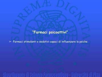 """""""Farmaci psicoattivi"""" - Appunti esami Farmacia e CTF"""