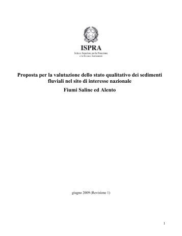 Proposta per la valutazione dello stato qualitativo dei sedimenti - Ispra