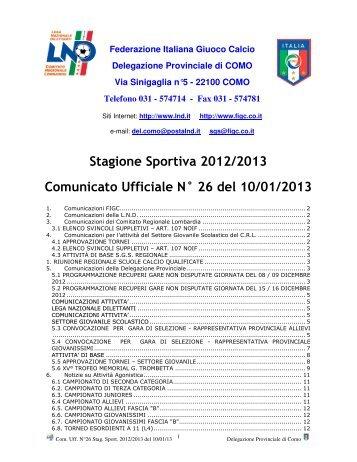Stagione Sportiva 2012/2013 Comunicato Ufficiale N° 26 del 10/01 ...