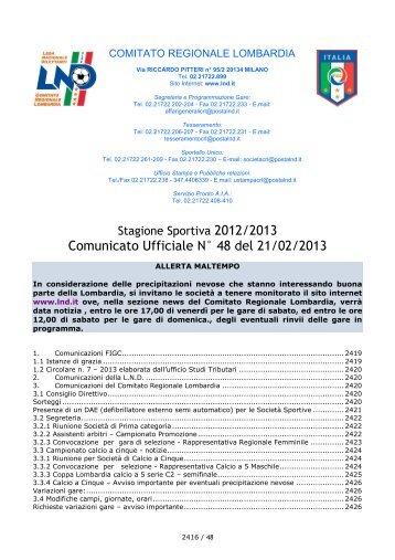 Comunicato Ufficiale N° 48 del 21/02/2013 - Lariosport
