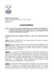 avviso pubblico - Provincia di Terni