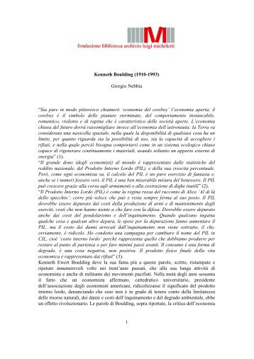 Kenneth Boulding (1910-1993) - Fondazione Luigi Micheletti