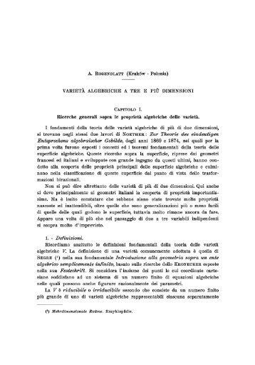 VARIETÀ ALGEBRICHE A TRE E PIÙ DIMENSIONI Ricerche ...