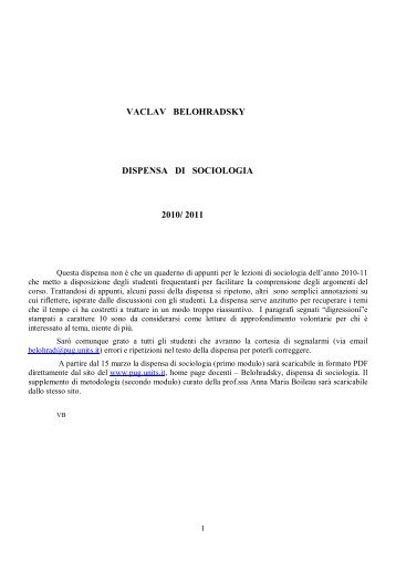 Dispensa di Sociologia 2010/2011 - Università di Trieste Polo di ...