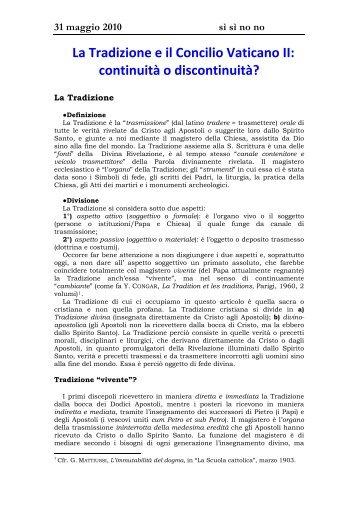 La Tradizione e il Concilio Vaticano II - Don Curzio Nitoglia
