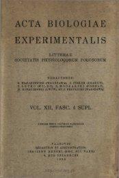 ACTA BIOLOGIAE EXPERIMENTALIS
