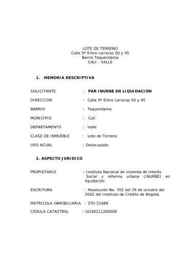 LOTE DE TERRENO Calle 5ª Entre carreras 50 y 45 Barrio ...
