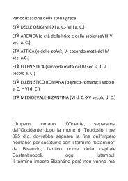 Periodizzazione della storia greca ETÀ DELLE ORIGINI ( XI a. C ...