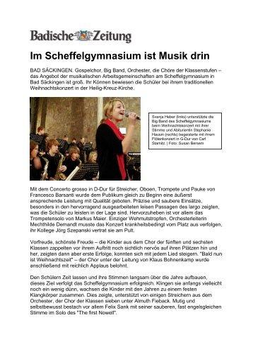 Weihnachtskonzert (BZ, 18.12.08, pdf) - Scheffel-Gymnasium Bad ...
