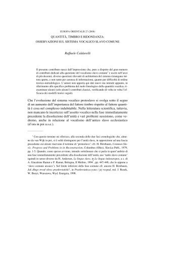 osservazioni sul sistema vocalico slavo comune - Europa Orientalis
