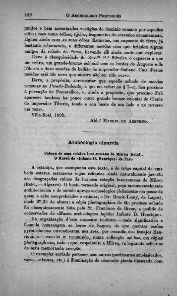 muitos e bem aocentuados vestígios do dominio romano por aquelles