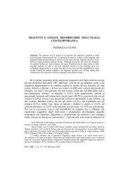 DIALETTI E LINGUE MINORITARIE NELL'ITALIA CONTEMPORANEA