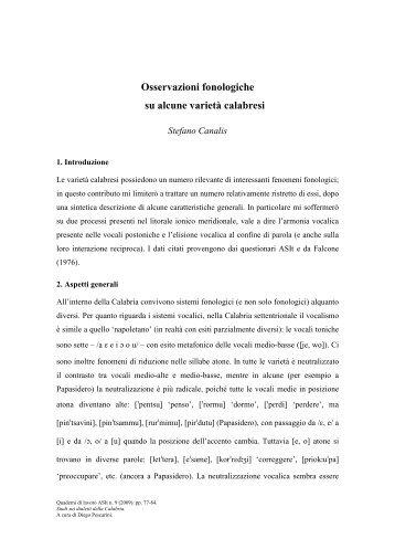 Osservazioni fonologiche su alcune varietà calabresi - Atlante ...