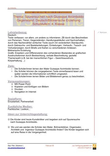Thema: Spurensuchen nach Giuseppe Arcimboldo Gegenstand ...