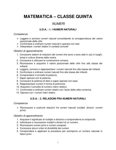 reputable site 0b2f2 fa88e MATEMATICA – CLASSE QUINTA - Maestra Sabry