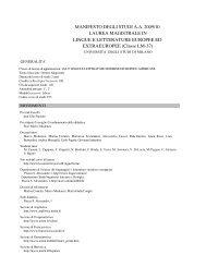 Manifesto degli studi LINGUE E LETTERATURE EUROPEE ED ...